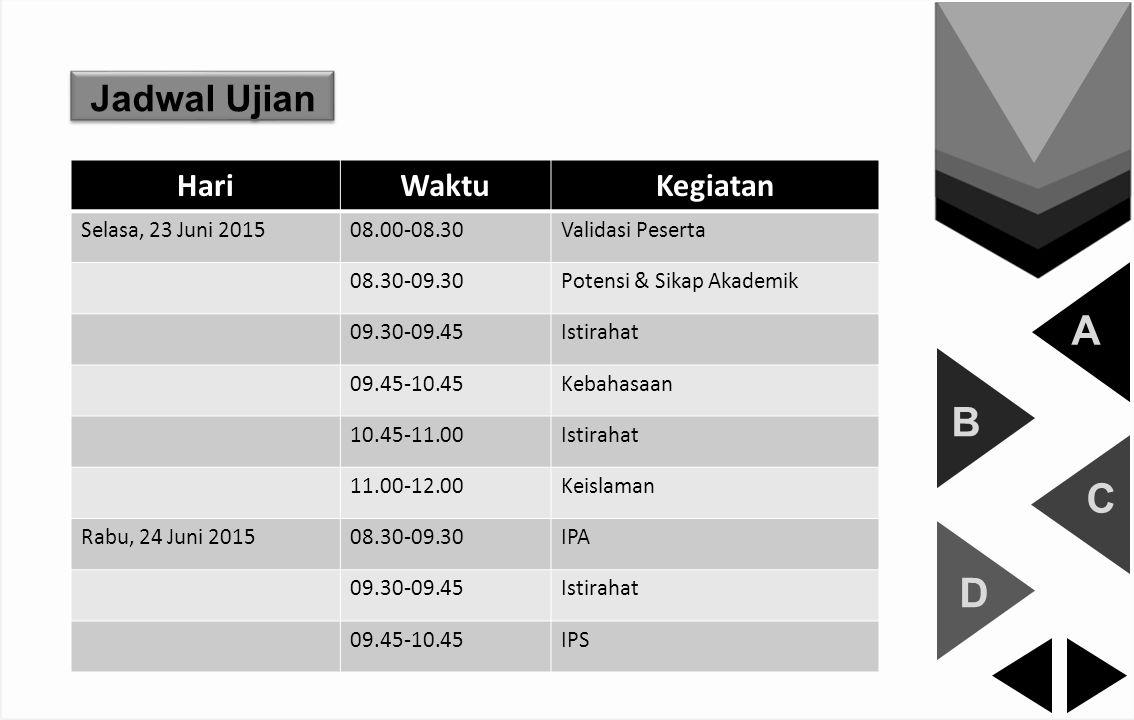 A B C D Jadwal Ujian HariWaktuKegiatan Selasa, 23 Juni 201508.00-08.30Validasi Peserta 08.30-09.30Potensi & Sikap Akademik 09.30-09.45Istirahat 09.45-