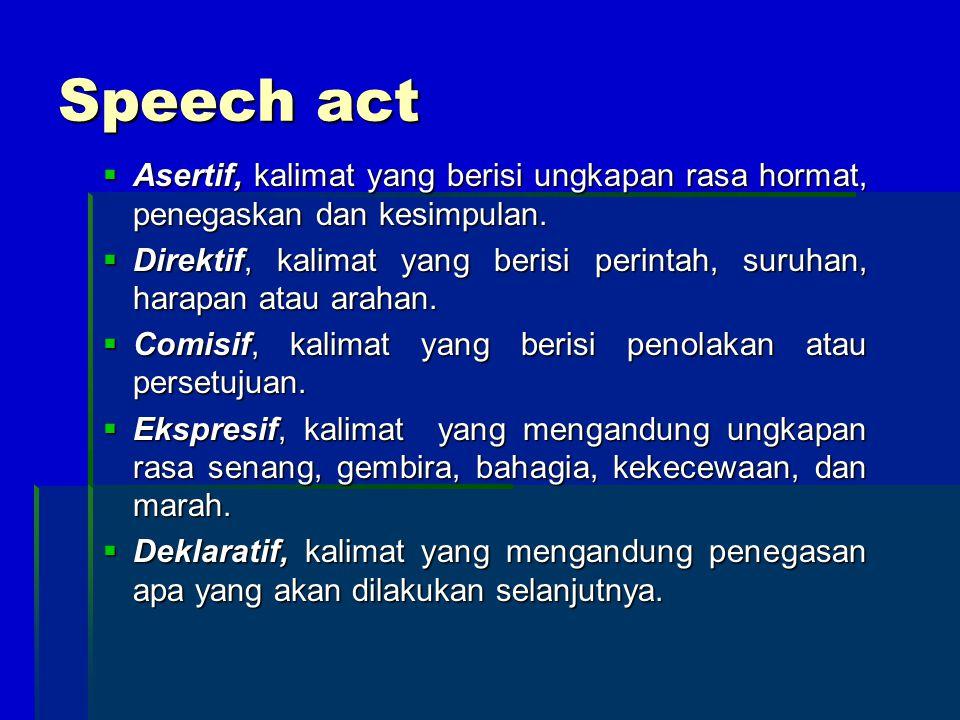 Speech act  Asertif, kalimat yang berisi ungkapan rasa hormat, penegaskan dan kesimpulan.  Direktif, kalimat yang berisi perintah, suruhan, harapan