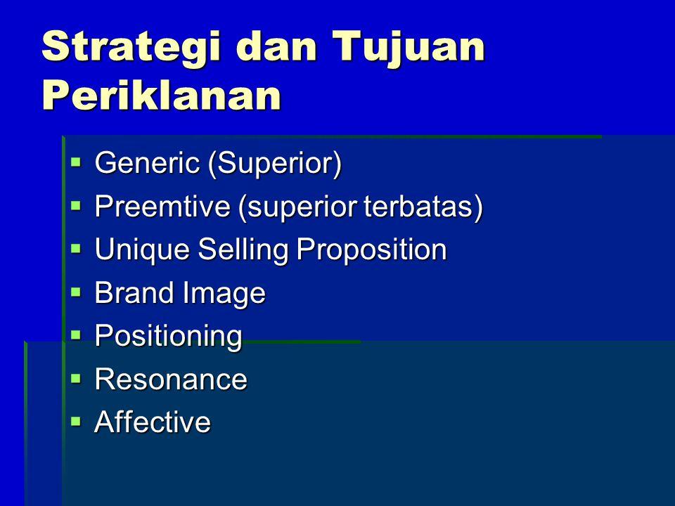 Strategi dan Tujuan Periklanan  Generic (Superior)  Preemtive (superior terbatas)  Unique Selling Proposition  Brand Image  Positioning  Resonan