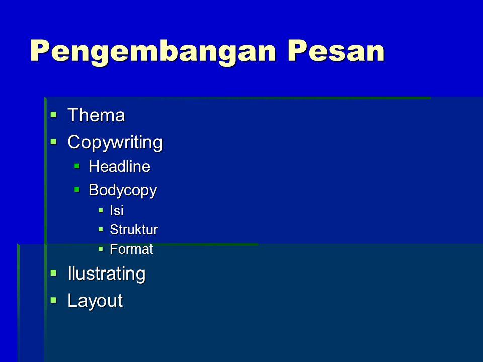 Pengembangan Pesan  Thema  Copywriting  Headline  Bodycopy  Isi  Struktur  Format  Ilustrating  Layout