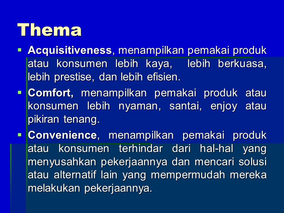 Thema  Acquisitiveness, menampilkan pemakai produk atau konsumen lebih kaya, lebih berkuasa, lebih prestise, dan lebih efisien.  Comfort, menampilka