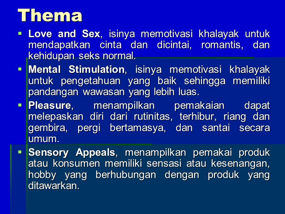Thema  Love and Sex, isinya memotivasi khalayak untuk mendapatkan cinta dan dicintai, romantis, dan kehidupan seks normal.  Mental Stimulation, isin