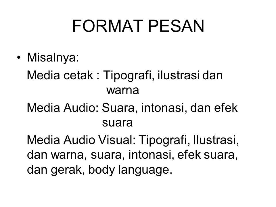 FORMAT PESAN Misalnya: Media cetak : Tipografi, ilustrasi dan warna Media Audio: Suara, intonasi, dan efek suara Media Audio Visual: Tipografi, Ilustr