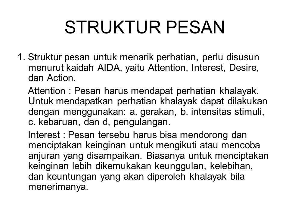 STRUKTUR PESAN 1. Struktur pesan untuk menarik perhatian, perlu disusun menurut kaidah AIDA, yaitu Attention, Interest, Desire, dan Action. Attention