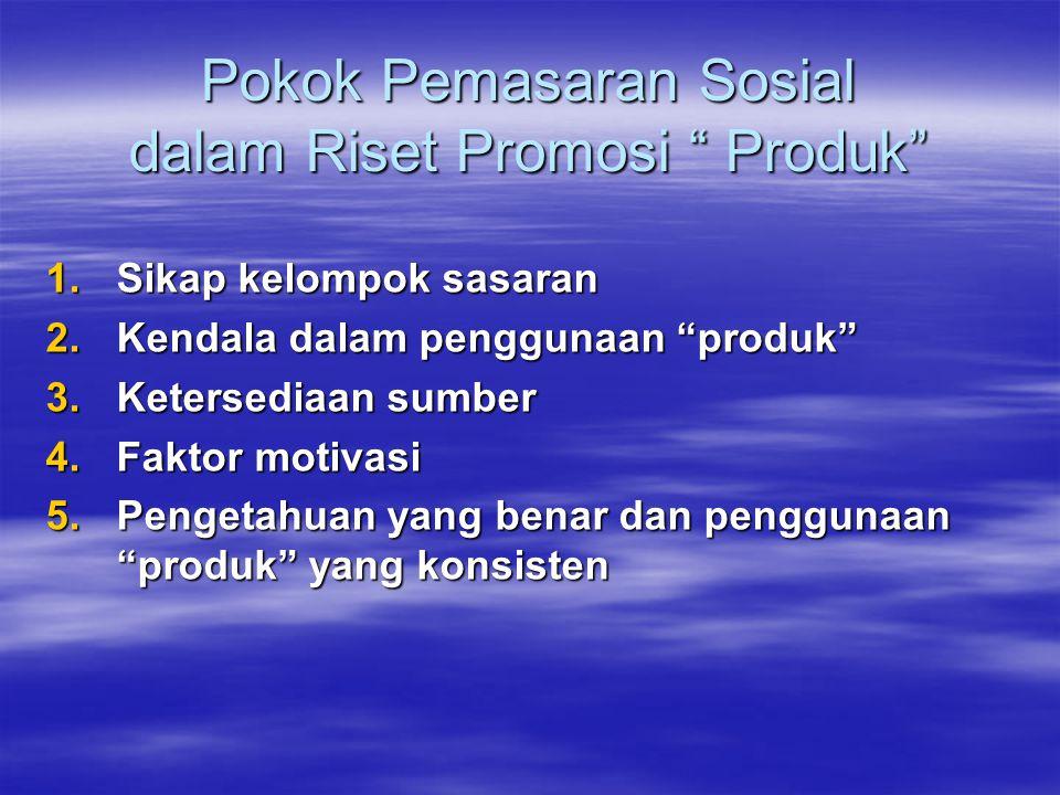"""Pokok Pemasaran Sosial dalam Riset Promosi """" Produk"""" 1.Sikap kelompok sasaran 2.Kendala dalam penggunaan """"produk"""" 3.Ketersediaan sumber 4.Faktor motiv"""