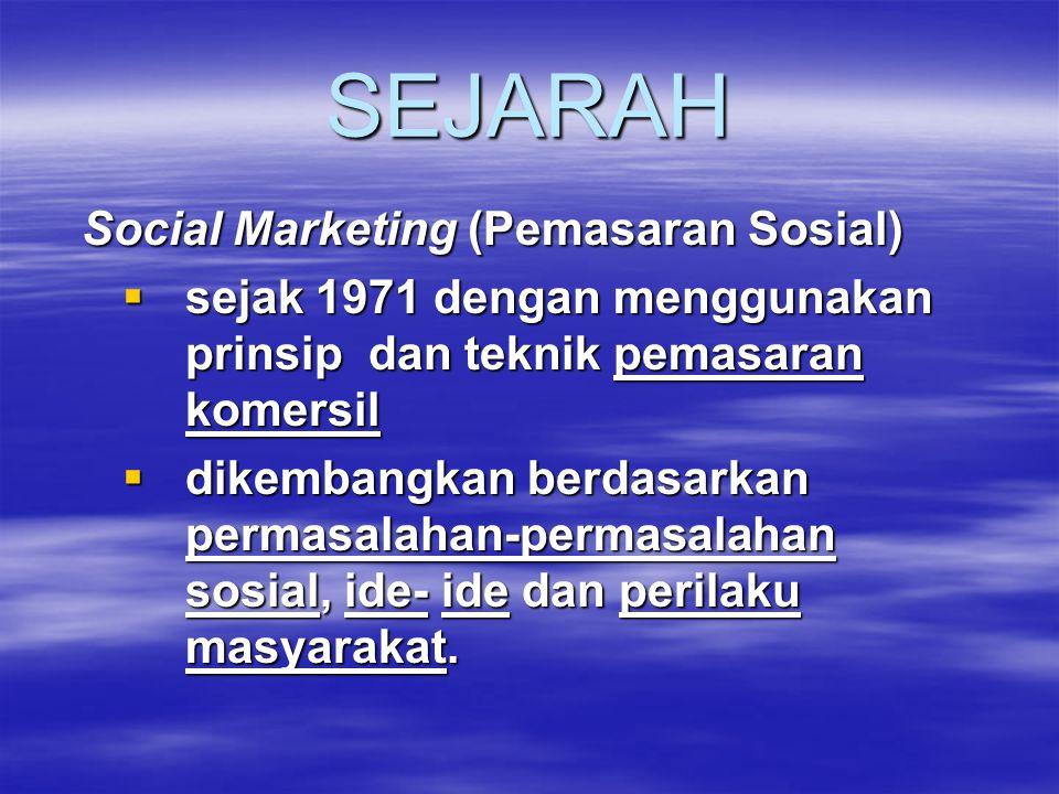 SEJARAH Social Marketing (Pemasaran Sosial)  sejak 1971 dengan menggunakan prinsip dan teknik pemasaran komersil  dikembangkan berdasarkan permasala