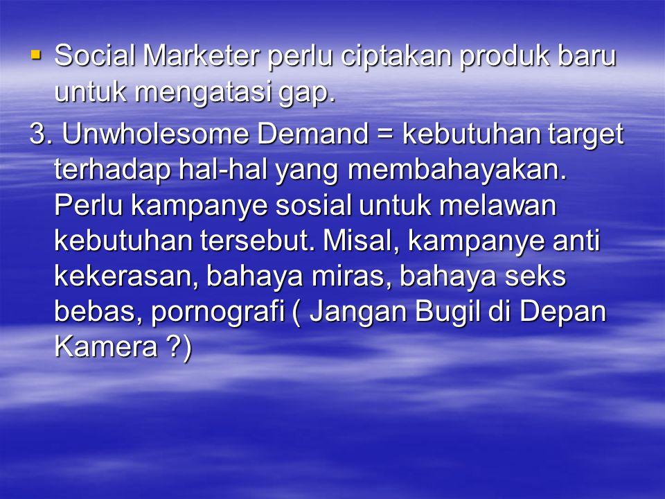  Social Marketer perlu ciptakan produk baru untuk mengatasi gap. 3. Unwholesome Demand = kebutuhan target terhadap hal-hal yang membahayakan. Perlu k
