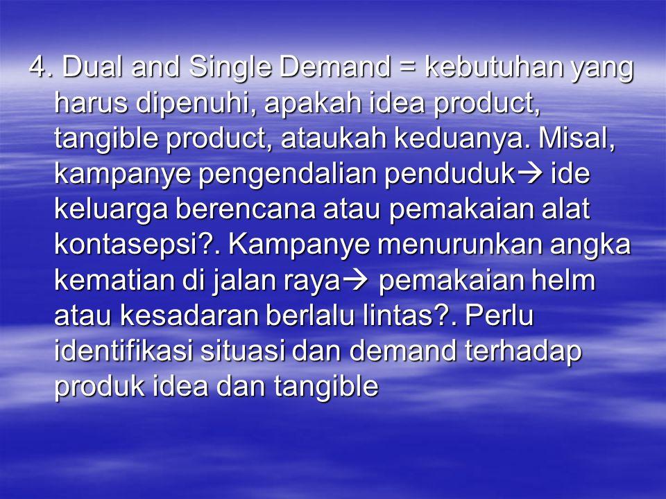 4. Dual and Single Demand = kebutuhan yang harus dipenuhi, apakah idea product, tangible product, ataukah keduanya. Misal, kampanye pengendalian pendu