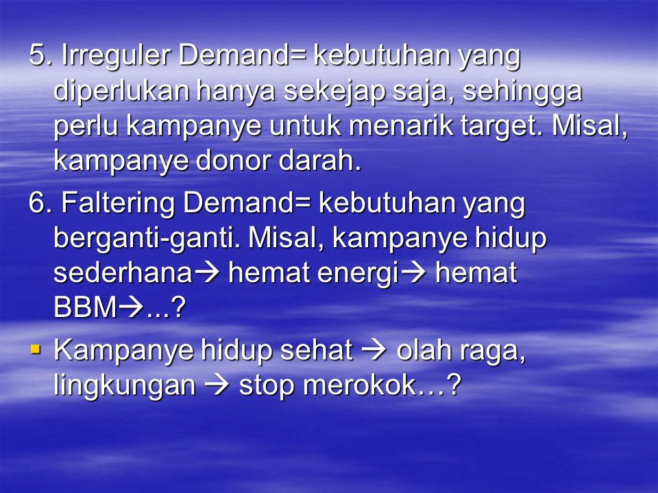 5. Irreguler Demand= kebutuhan yang diperlukan hanya sekejap saja, sehingga perlu kampanye untuk menarik target. Misal, kampanye donor darah. 6. Falte