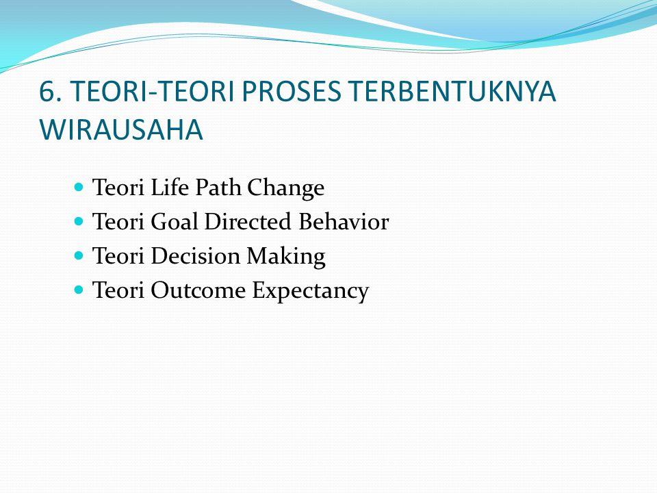6. TEORI-TEORI PROSES TERBENTUKNYA WIRAUSAHA Teori Life Path Change Teori Goal Directed Behavior Teori Decision Making Teori Outcome Expectancy
