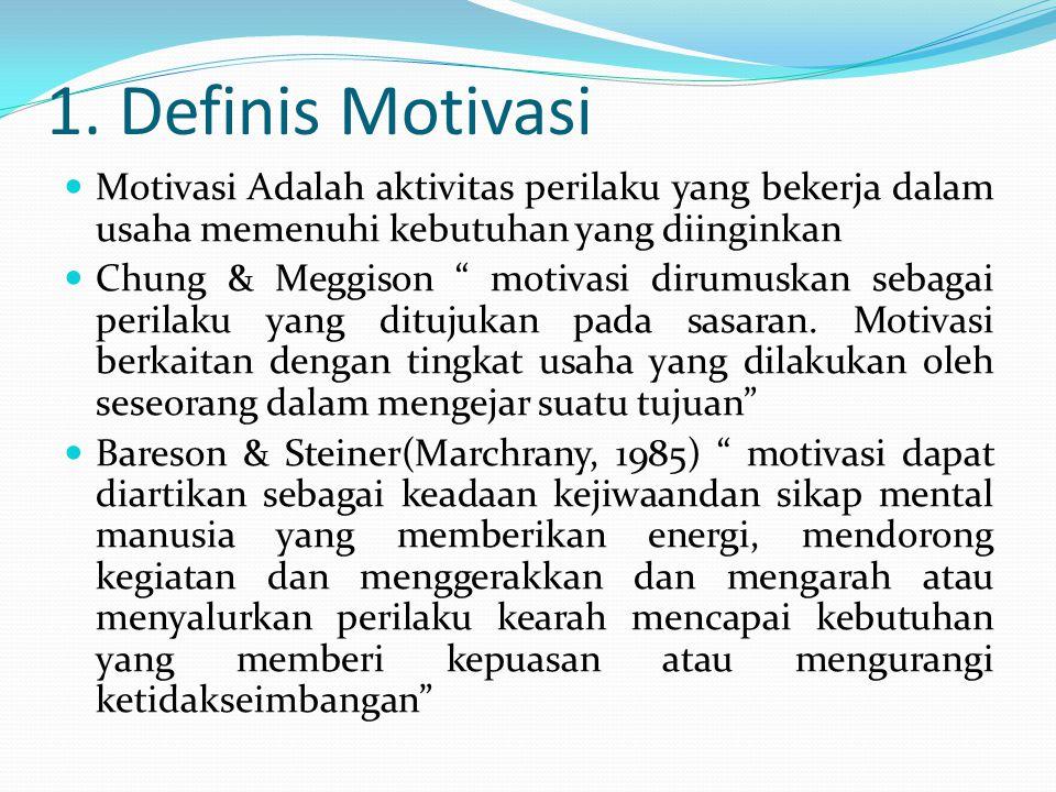 """1. Definis Motivasi Motivasi Adalah aktivitas perilaku yang bekerja dalam usaha memenuhi kebutuhan yang diinginkan Chung & Meggison """" motivasi dirumus"""