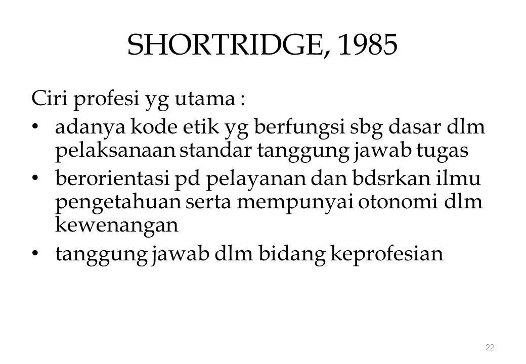 SHORTRIDGE, 1985 Ciri profesi yg utama : adanya kode etik yg berfungsi sbg dasar dlm pelaksanaan standar tanggung jawab tugas berorientasi pd pelayanan dan bdsrkan ilmu pengetahuan serta mempunyai otonomi dlm kewenangan tanggung jawab dlm bidang keprofesian 22