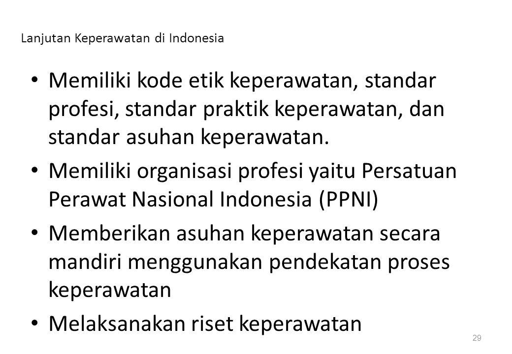 Lanjutan Keperawatan di Indonesia Memiliki kode etik keperawatan, standar profesi, standar praktik keperawatan, dan standar asuhan keperawatan. Memili