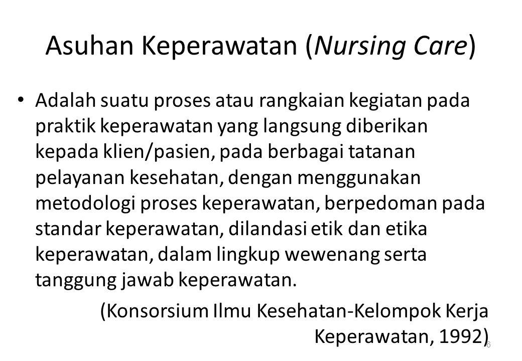 Asuhan Keperawatan (Nursing Care) Adalah suatu proses atau rangkaian kegiatan pada praktik keperawatan yang langsung diberikan kepada klien/pasien, pada berbagai tatanan pelayanan kesehatan, dengan menggunakan metodologi proses keperawatan, berpedoman pada standar keperawatan, dilandasi etik dan etika keperawatan, dalam lingkup wewenang serta tanggung jawab keperawatan.