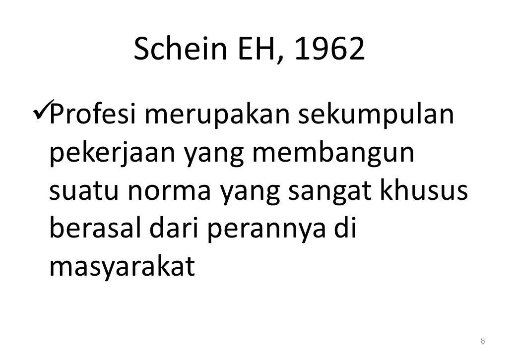Schein EH, 1962 Profesi merupakan sekumpulan pekerjaan yang membangun suatu norma yang sangat khusus berasal dari perannya di masyarakat 8