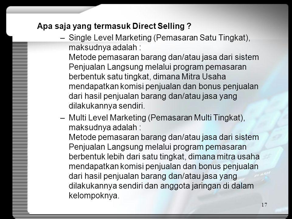 Apa saja yang termasuk Direct Selling .