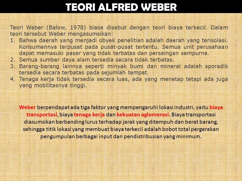 TEORI ALFRED WEBER Teori Weber (Balow, 1978) biasa disebut dengan teori biaya terkecil.