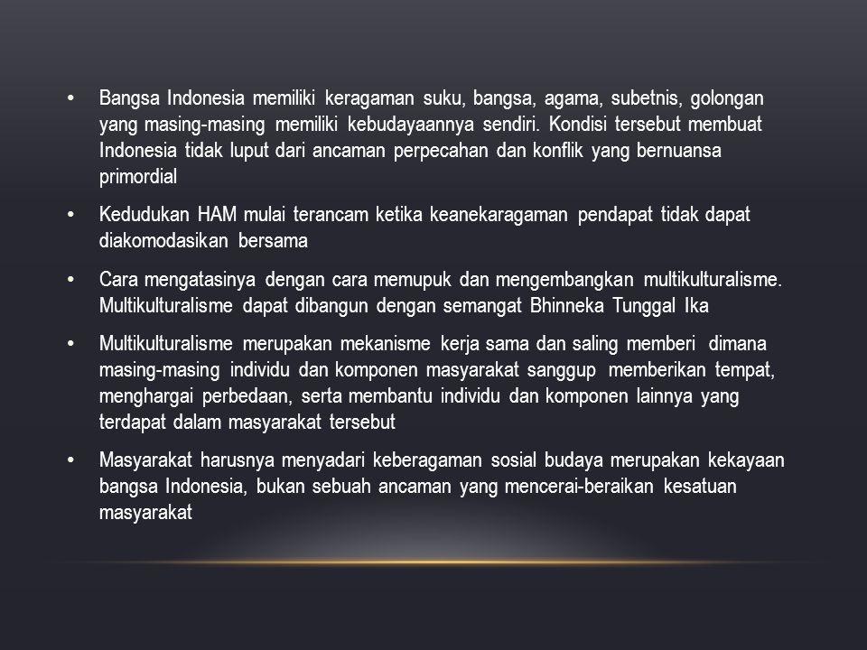 Bangsa Indonesia memiliki keragaman suku, bangsa, agama, subetnis, golongan yang masing-masing memiliki kebudayaannya sendiri. Kondisi tersebut membua