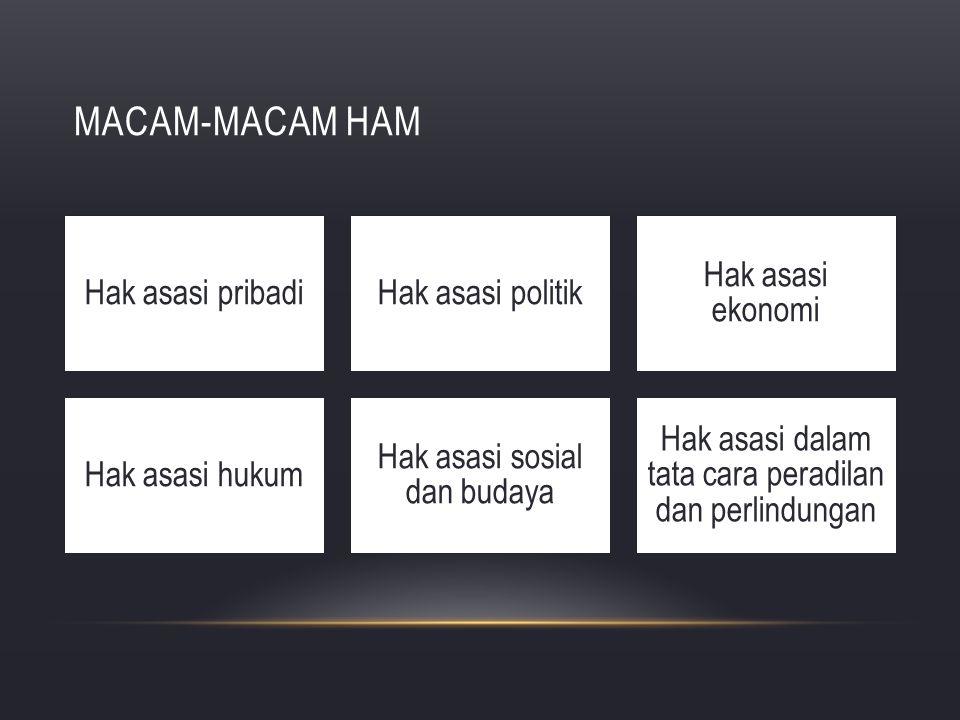 MACAM-MACAM HAM Hak asasi pribadiHak asasi politik Hak asasi ekonomi Hak asasi hukum Hak asasi sosial dan budaya Hak asasi dalam tata cara peradilan d