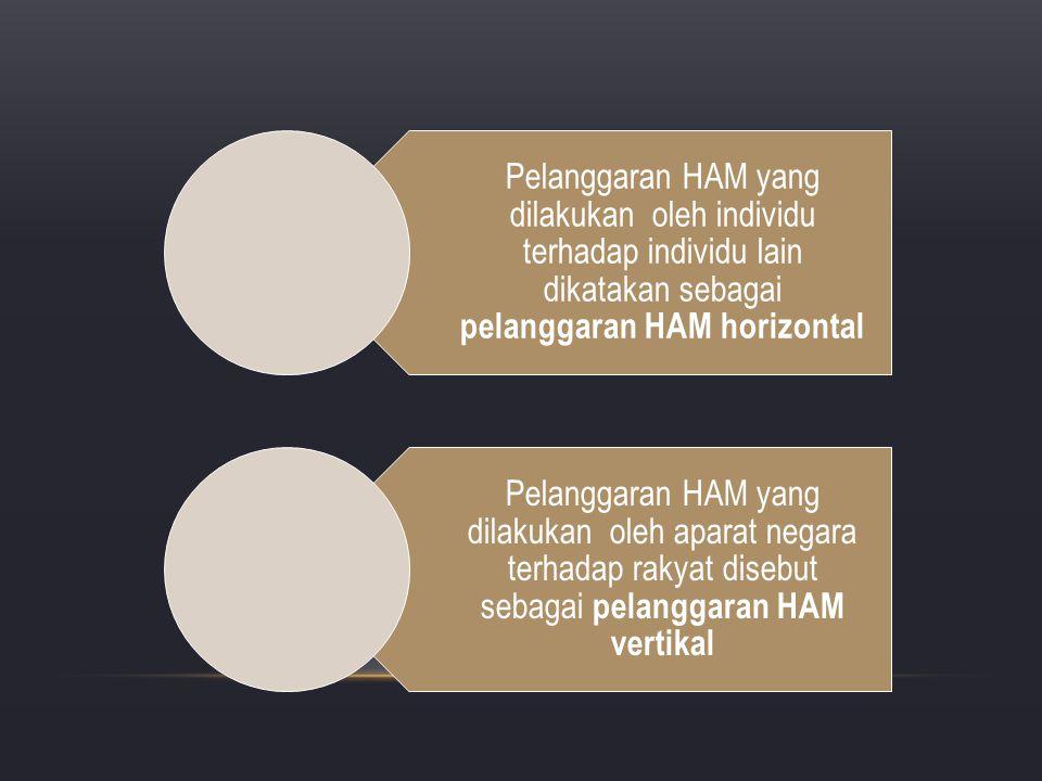 Pelanggaran HAM yang dilakukan oleh individu terhadap individu lain dikatakan sebagai pelanggaran HAM horizontal Pelanggaran HAM yang dilakukan oleh a