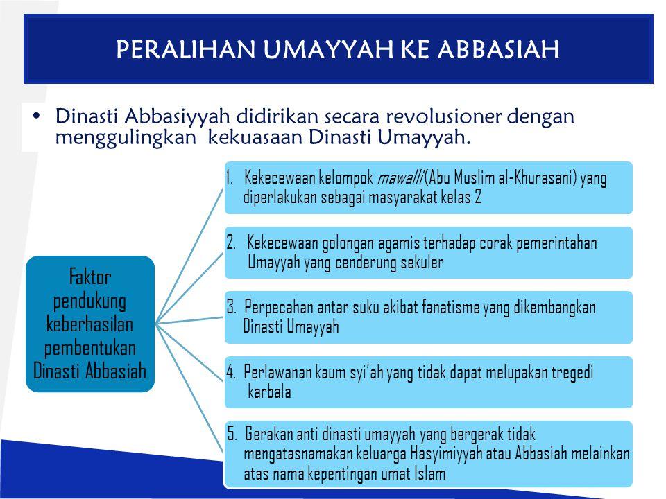 PERALIHAN UMAYYAH KE ABBASIAH Dinasti Abbasiyyah didirikan secara revolusioner dengan menggulingkan kekuasaan Dinasti Umayyah. Faktor pendukung keberh