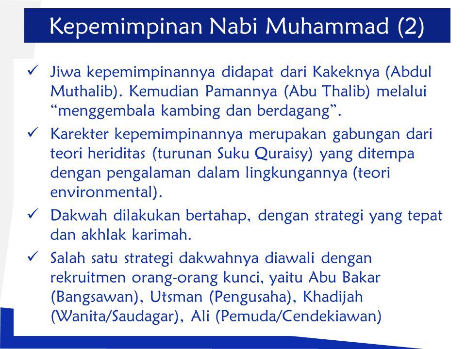 """Kepemimpinan Nabi Muhammad (2) Jiwa kepemimpinannya didapat dari Kakeknya (Abdul Muthalib). Kemudian Pamannya (Abu Thalib) melalui """"menggembala kambin"""