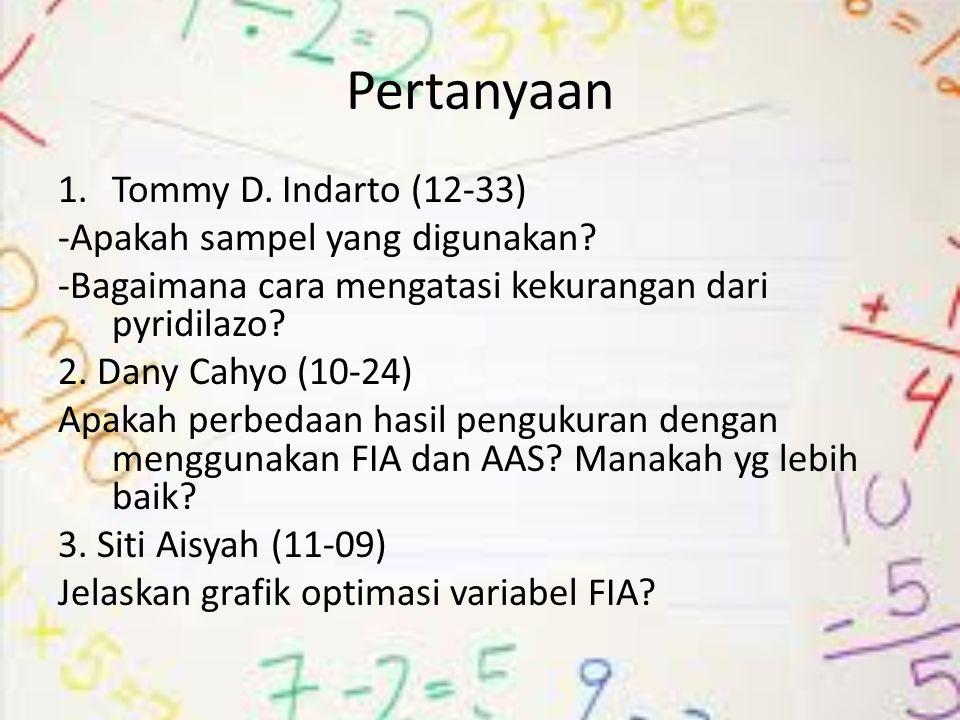 Pertanyaan 1.Tommy D. Indarto (12-33) -Apakah sampel yang digunakan? -Bagaimana cara mengatasi kekurangan dari pyridilazo? 2. Dany Cahyo (10-24) Apaka