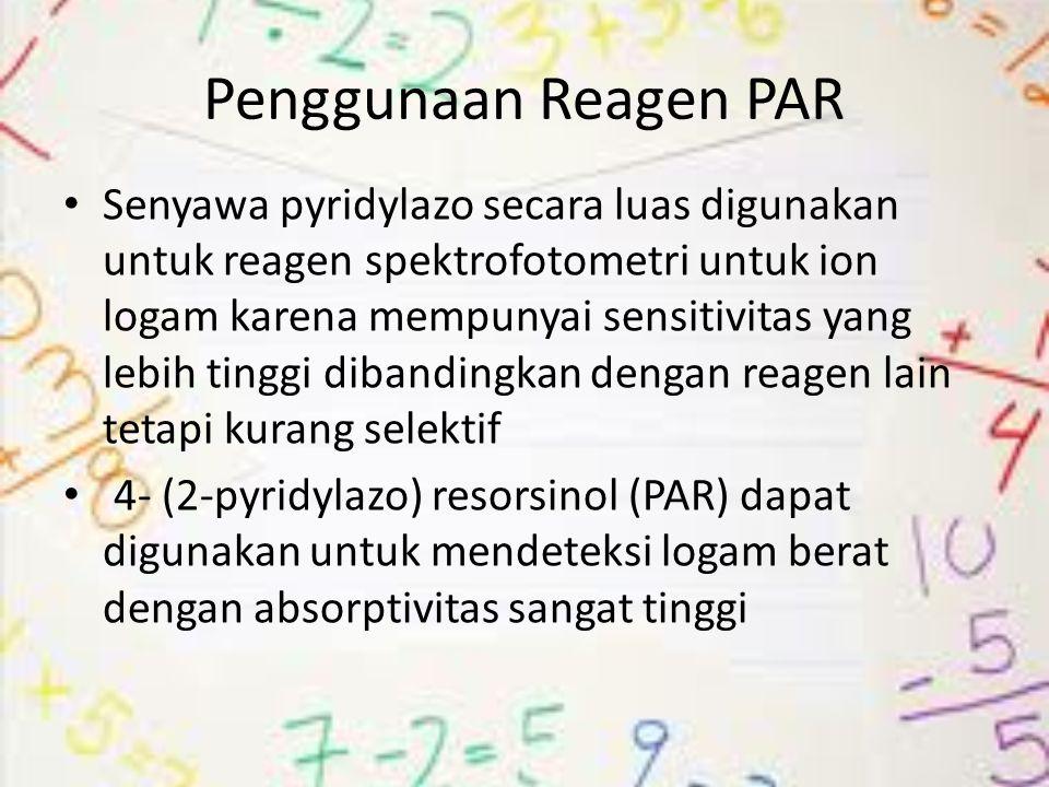 Bahan Larutan Mn(II) 1000 mg/L sebagai larutan standar Larutan 4- (2-Pyridylazo) resorsinol (PAR) (Fluka) 5 × 10-3 mol L-1sebagi reagen Larutan buffer universal yang mengandung borat, sitrat, atau fosfat dengan pH 7,0 dan 12 yang digunakan untuk memperoleh bidang puncak yang luas terhadap pH