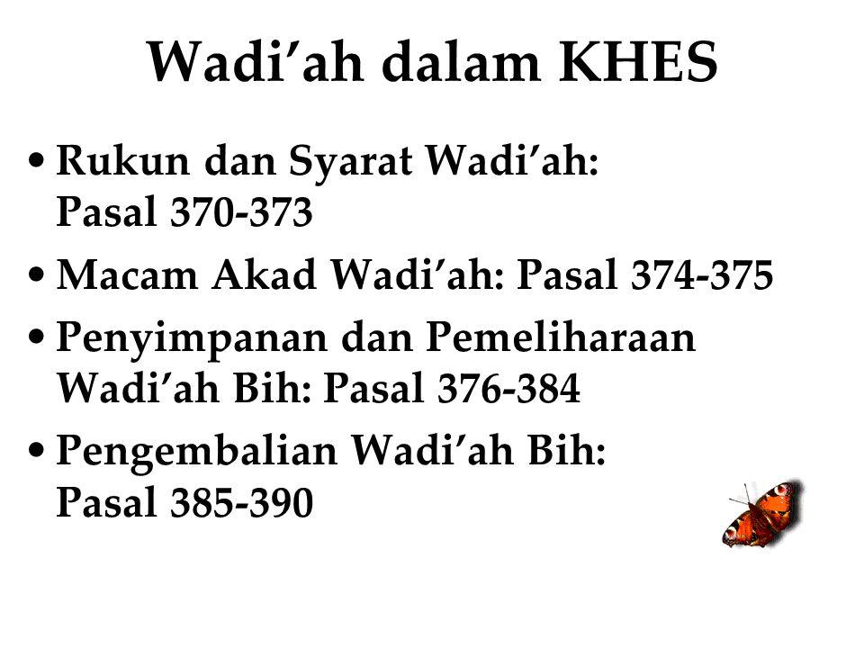 Wadi'ah dalam KHES Rukun dan Syarat Wadi'ah: Pasal 370-373 Macam Akad Wadi'ah: Pasal 374-375 Penyimpanan dan Pemeliharaan Wadi'ah Bih: Pasal 376-384 P