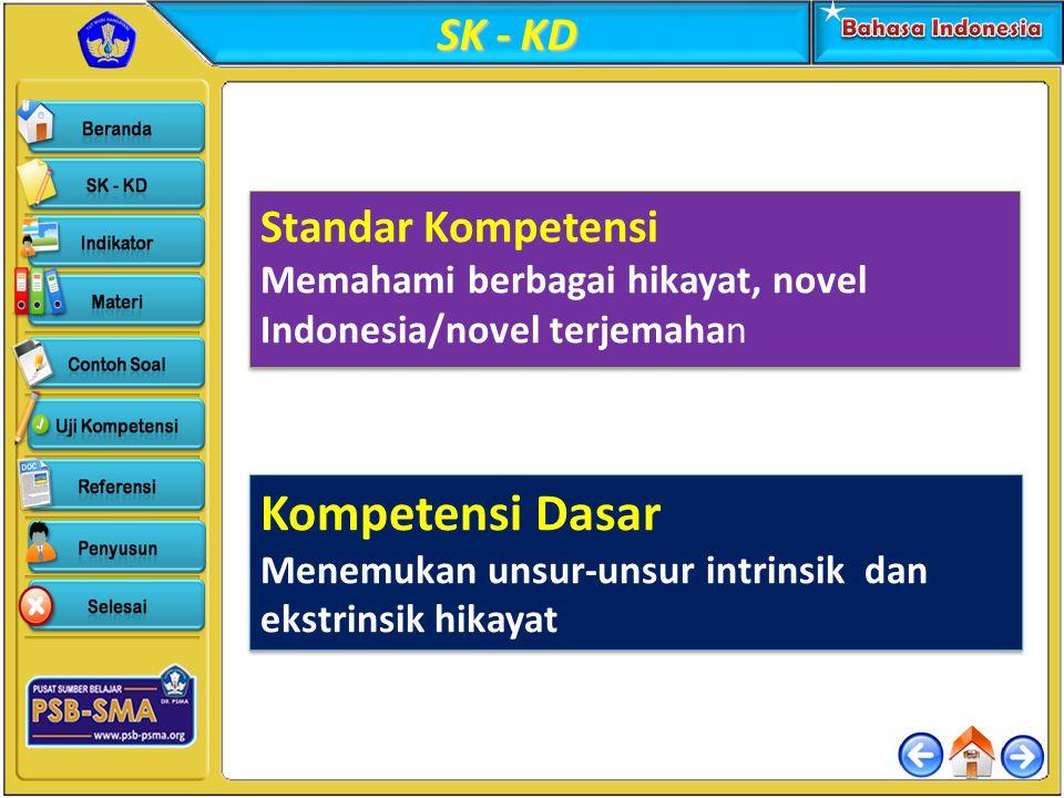 SK - KD Standar Kompetensi Memahami berbagai hikayat, novel Indonesia/novel terjemahan Standar Kompetensi Memahami berbagai hikayat, novel Indonesia/n