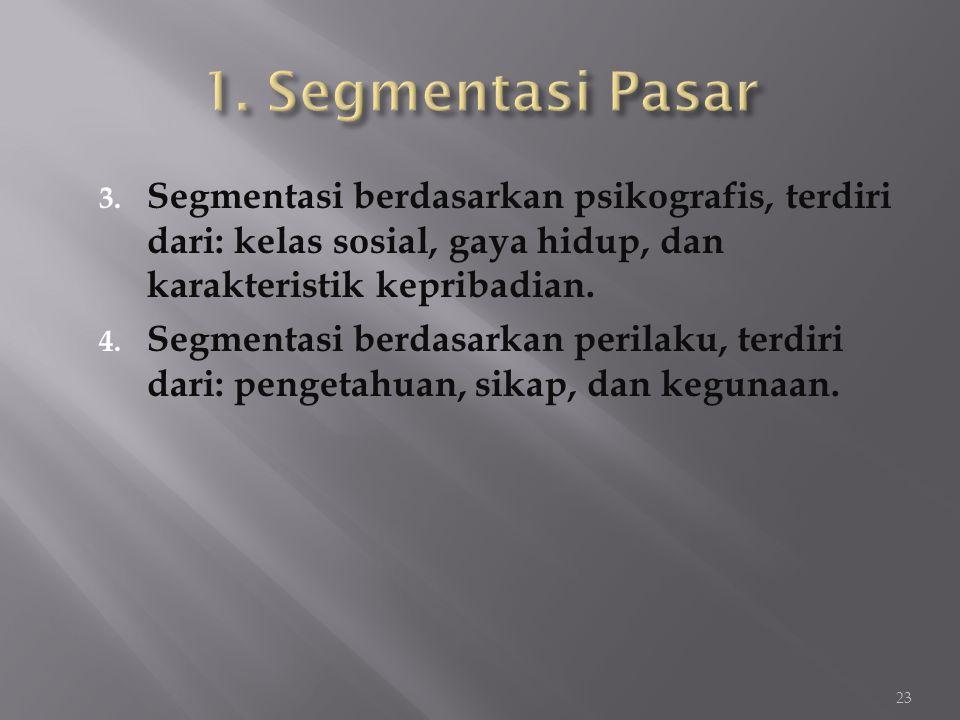 3. Segmentasi berdasarkan psikografis, terdiri dari: kelas sosial, gaya hidup, dan karakteristik kepribadian. 4. Segmentasi berdasarkan perilaku, terd