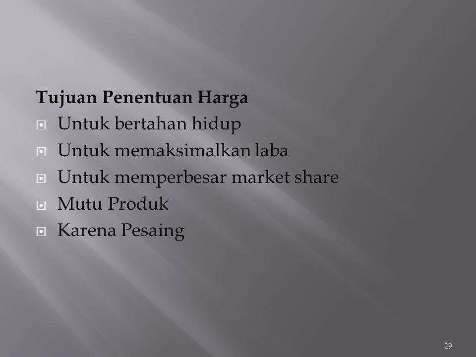 Tujuan Penentuan Harga  Untuk bertahan hidup  Untuk memaksimalkan laba  Untuk memperbesar market share  Mutu Produk  Karena Pesaing 29