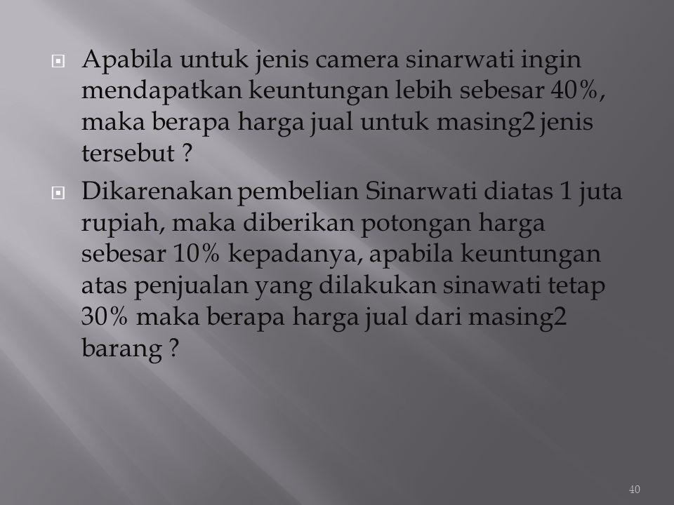  Apabila untuk jenis camera sinarwati ingin mendapatkan keuntungan lebih sebesar 40%, maka berapa harga jual untuk masing2 jenis tersebut ?  Dikaren