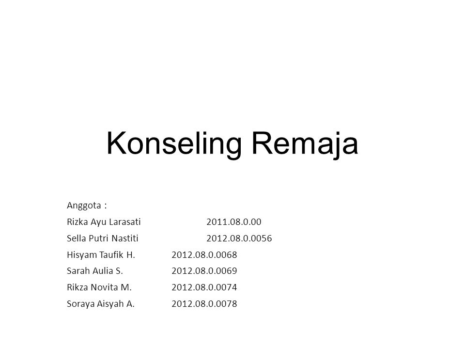 Konseling Remaja Anggota : Rizka Ayu Larasati2011.08.0.00 Sella Putri Nastiti2012.08.0.0056 Hisyam Taufik H.2012.08.0.0068 Sarah Aulia S.2012.08.0.006