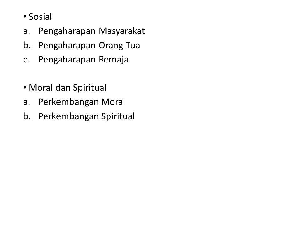 Sosial a.Pengaharapan Masyarakat b.Pengaharapan Orang Tua c.Pengaharapan Remaja Moral dan Spiritual a.Perkembangan Moral b.Perkembangan Spiritual