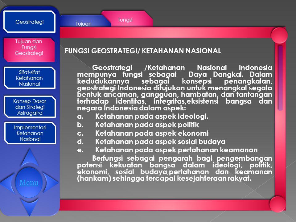 Geostrategi Tujuan dan Fungsi Geostrategi Tujuan dan Fungsi Geostrategi Sifat-sifat Ketahanan Nasional Konsep Dasar dan Strategi Astragatra Konsep Dasar dan Strategi Astragatra Implementasi Ketahanan Nasional Implementasi Ketahanan Nasional Ada 7 sifat ketahanan nasional : 1.