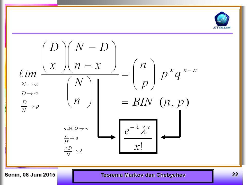 Senin, 08 Juni 2015Senin, 08 Juni 2015Senin, 08 Juni 2015Senin, 08 Juni 2015 Teorema Markov dan Chebychev 22