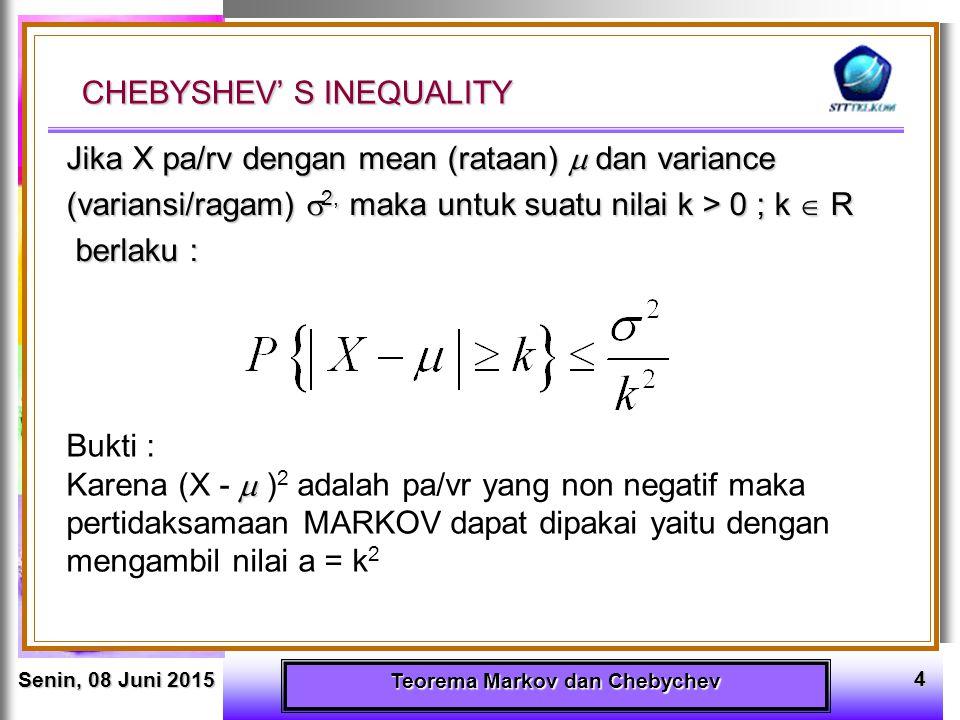 Senin, 08 Juni 2015Senin, 08 Juni 2015Senin, 08 Juni 2015Senin, 08 Juni 2015 Teorema Markov dan Chebychev 15 4.VR X berdistribusi Binomial dengan E(X) = 6 dan Var X = 2,4 Tentukan : a.
