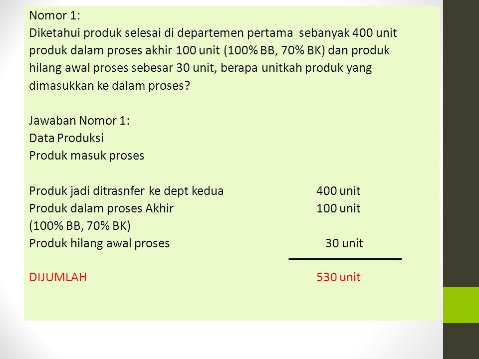 Nomor 1: Diketahui produk selesai di departemen pertama sebanyak 400 unit produk dalam proses akhir 100 unit (100% BB, 70% BK) dan produk hilang awal