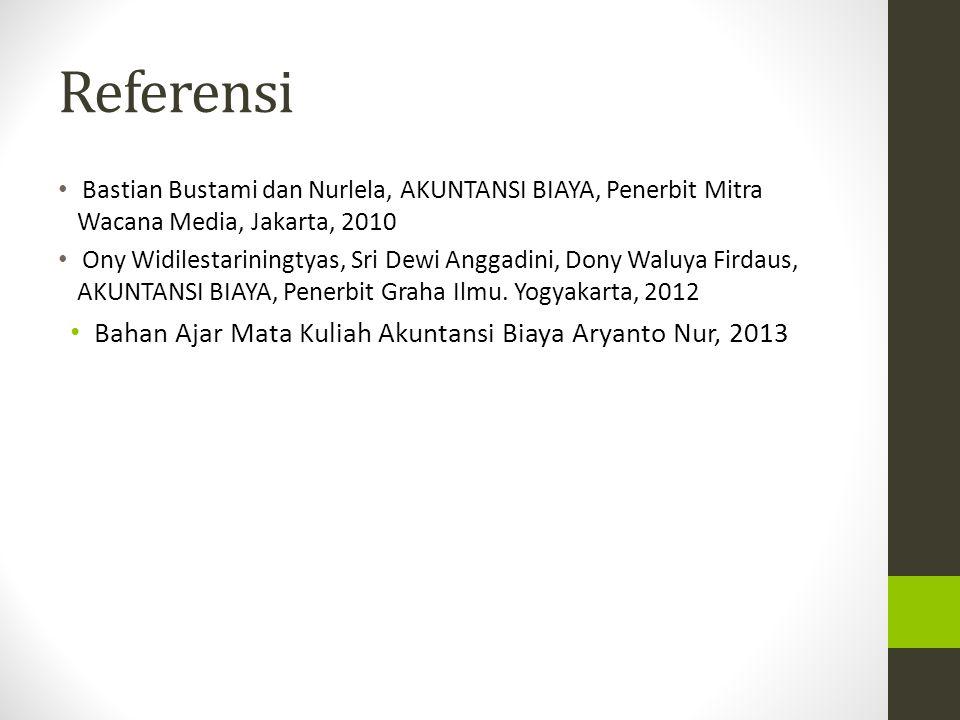 Referensi Bastian Bustami dan Nurlela, AKUNTANSI BIAYA, Penerbit Mitra Wacana Media, Jakarta, 2010 Ony Widilestariningtyas, Sri Dewi Anggadini, Dony W