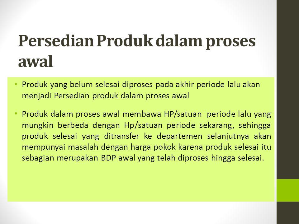 Persedian Produk dalam proses awal Produk yang belum selesai diproses pada akhir periode lalu akan menjadi Persedian produk dalam proses awal Produk d
