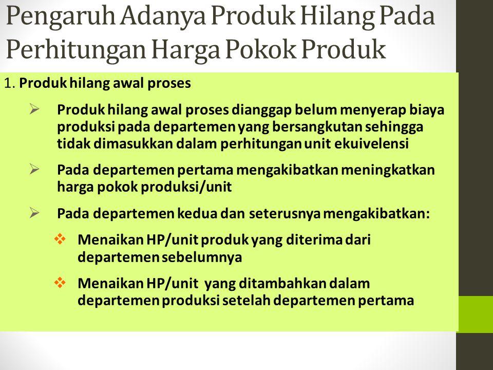 Pengaruh Adanya Produk Hilang Pada Perhitungan Harga Pokok Produk 1. Produk hilang awal proses PProduk hilang awal proses dianggap belum menyerap bi