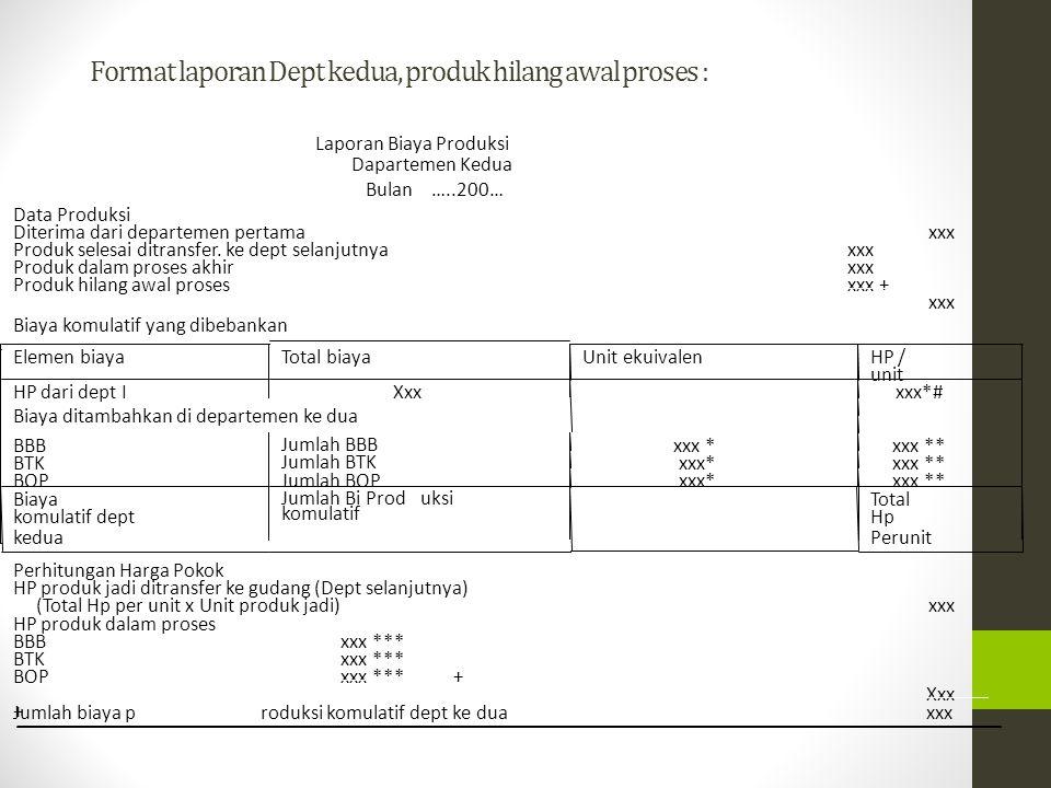 *# HP/unit yang disesuaikan = (Total biaya dari dept pertama) / (Unit diterima dari dept pertama – unit produk hilang awal proses) * Unit Ekuivalen = unit produk jadi + (unit BDP akhir x % penyelesaian ) ** HP per unit = Total biaya / unit ekuivalen *** Nilai BDP akhir = Unit BDPakhir x % penyelesaian x HP/unit masing-masing elemen