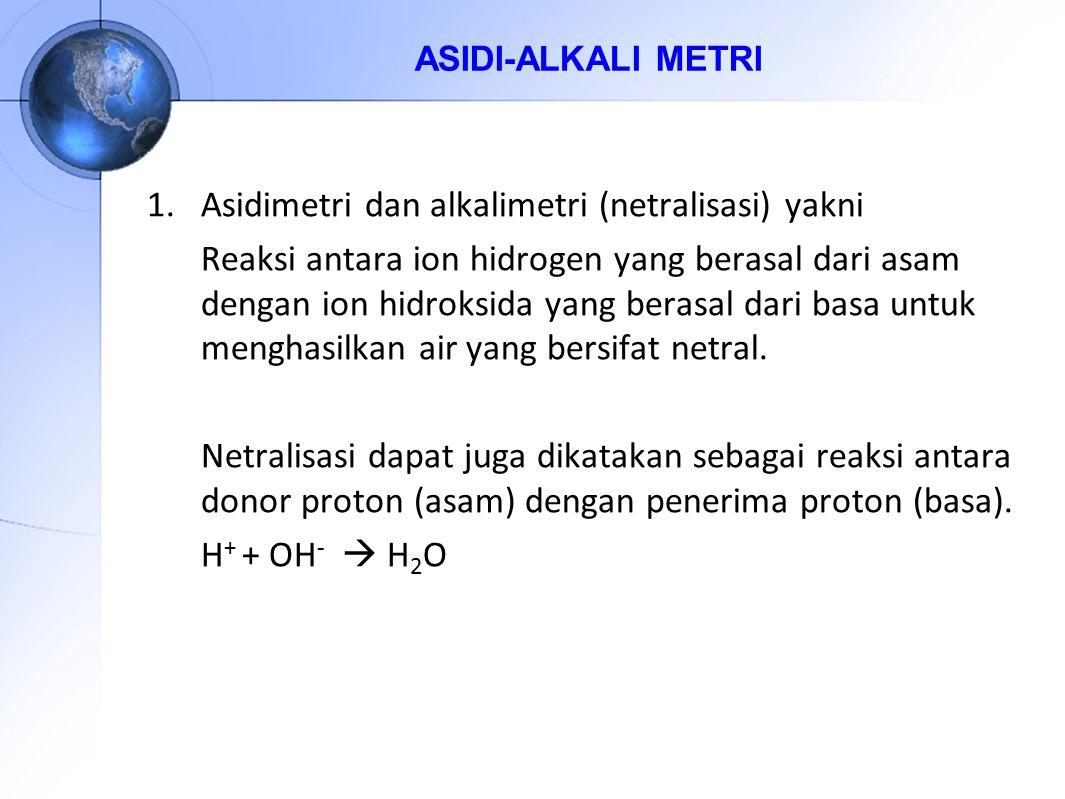 1.Asidimetri dan alkalimetri (netralisasi) yakni Reaksi antara ion hidrogen yang berasal dari asam dengan ion hidroksida yang berasal dari basa untuk