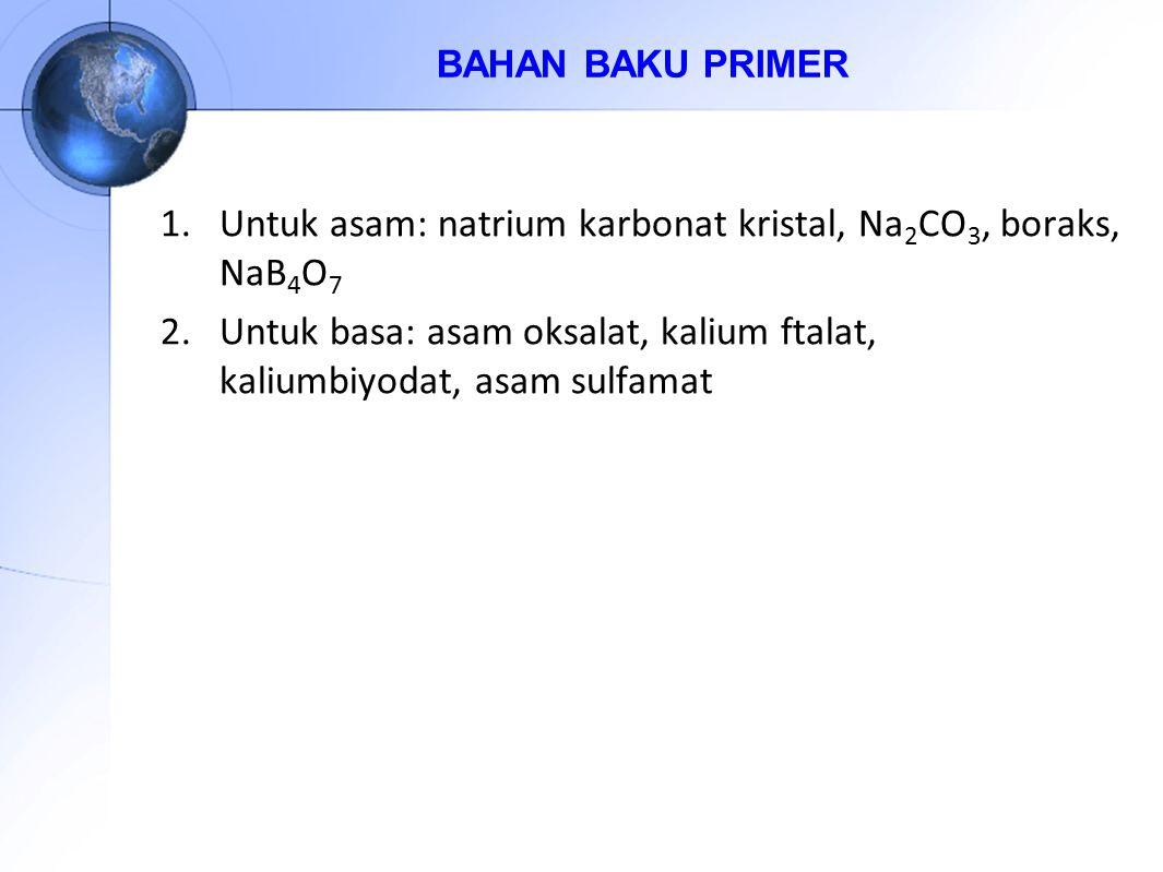 1.Untuk asam: natrium karbonat kristal, Na 2 CO 3, boraks, NaB 4 O 7 2.Untuk basa: asam oksalat, kalium ftalat, kaliumbiyodat, asam sulfamat BAHAN BAK