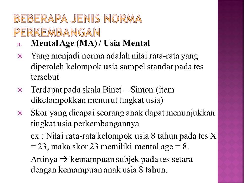 a. Mental Age (MA) / Usia Mental  Yang menjadi norma adalah nilai rata-rata yang diperoleh kelompok usia sampel standar pada tes tersebut  Terdapat
