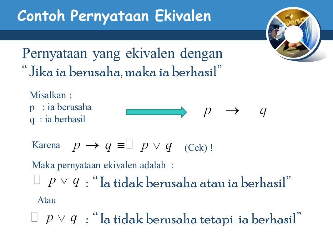 Contoh Pernyataan Ekivalen Pernyataan yang ekivalen dengan Jika ia berusaha, maka ia berhasil Misalkan : p : ia berusaha q : ia berhasil Karena (Cek) .
