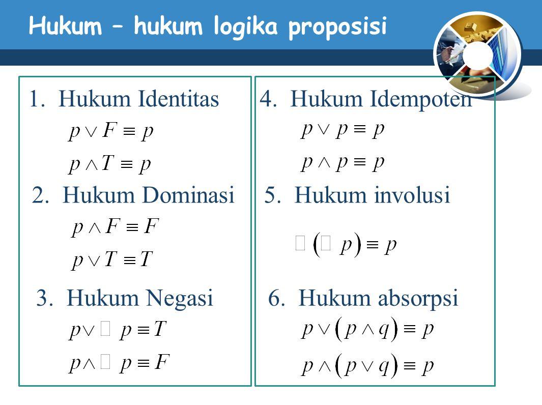 Hukum – hukum logika proposisi 1.Hukum Identitas 2.