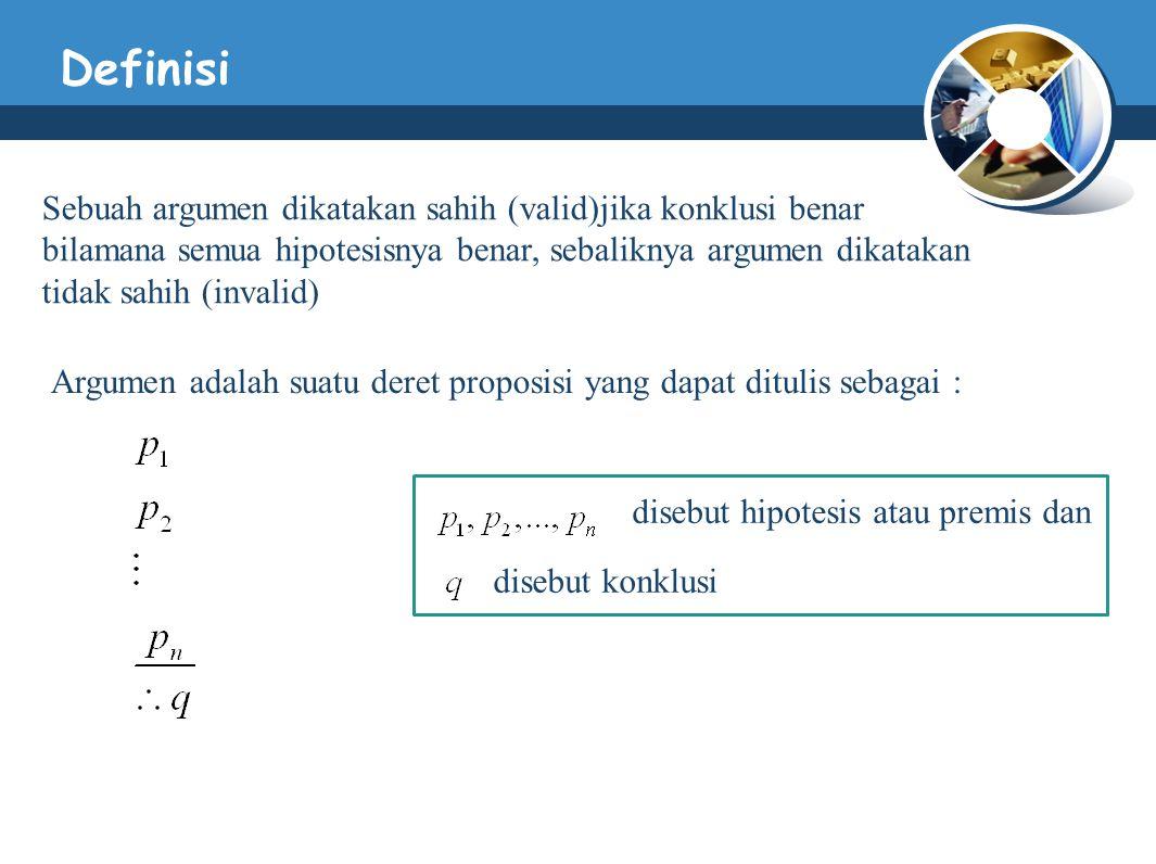 Definisi Sebuah argumen dikatakan sahih (valid)jika konklusi benar bilamana semua hipotesisnya benar, sebaliknya argumen dikatakan tidak sahih (invalid) Argumen adalah suatu deret proposisi yang dapat ditulis sebagai : disebut hipotesis atau premis dan disebut konklusi