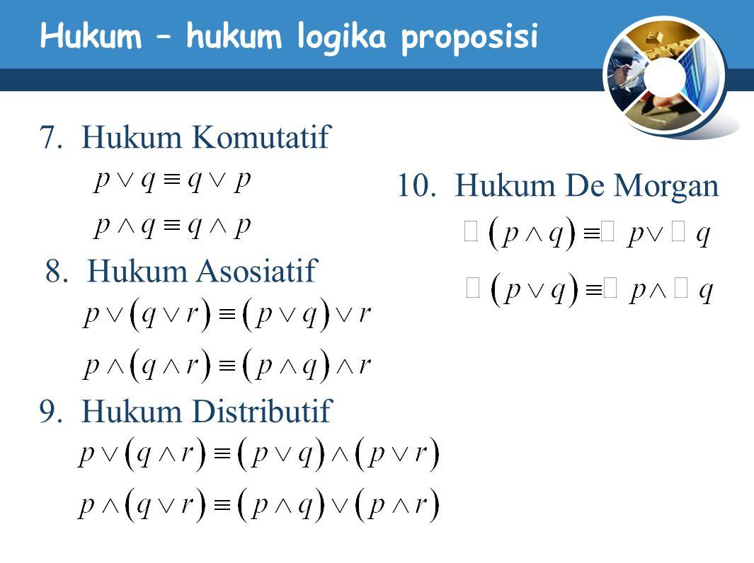 Hukum – hukum logika proposisi 7. Hukum Komutatif 8. Hukum Asosiatif 9. Hukum Distributif 10. Hukum De Morgan